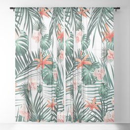 Tropical Flowers & Leaves Paradise #2 #tropical #decor #art #society6 Sheer Curtain
