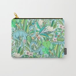 Improbable Botanical with Dinosaurs - soft pastels Carry-All Pouch