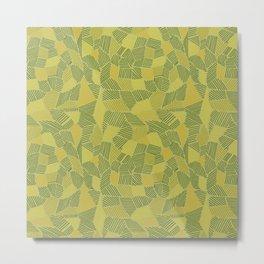 yellow, orange and dark green strips on green background Metal Print