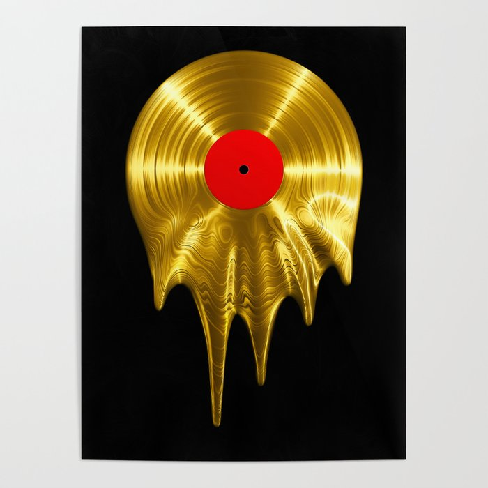 Melting vinyl GOLD / 3D render of gold vinyl record melting Poster