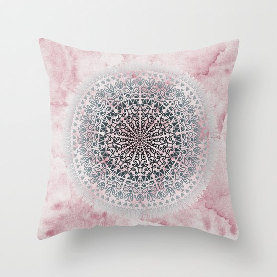 ICELAND MANDALA IN PINK Throw Pillow