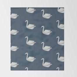White & blue origami swan pattern Throw Blanket