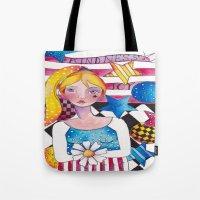 patriotic Tote Bags featuring Patriotic Girl by Judy Skowron