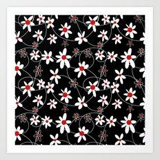 Black & White Flowers Art Print