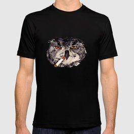 art student owl watercolour T-shirt