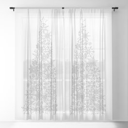 Inspirational Snowflake Christmas Tree, Dream, Believe and Achieve Sheer Curtain