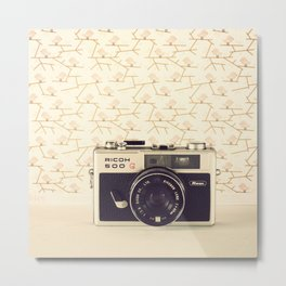 Ricco Film Camera and Pink Background Birds (Vintage and Retro Still Life Photography)  Metal Print