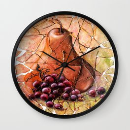 Pear & Grapes Fresco Wall Clock