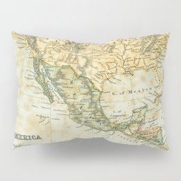 North America Vintage Encyclopedia Map Pillow Sham