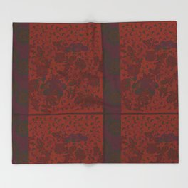 Caravans II:  Asian Print  Plum, gold, orange green origami textile floral design Throw Blanket