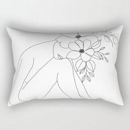 Minimal Line Art Nude Woman with Flowers Rectangular Pillow