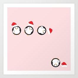 Mr P. The Christmas Penguin Art Print