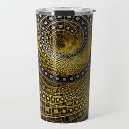 Golden Film Strips in Noir Nested Fractal Circles Travel Mug