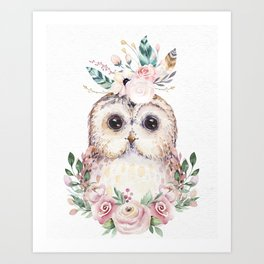Forest Owl Floral by Nature Magick Art Print