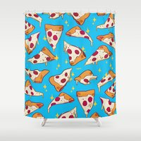pizza Shower Curtains featuring pizza by Erin Lowe