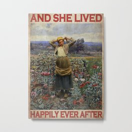 Garden Poster Gardening And She Lived Happily Ever After Metal Print