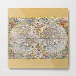 Antique Map of the World from 1594 Metal Print