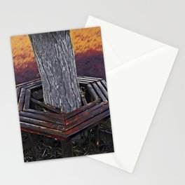 Bench on the park built around a tree trunk Stationery Cards