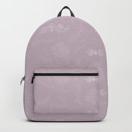 Pastel mauve pink violet white hand painted floral leaves Backpack