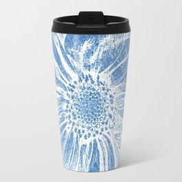 White Flower On Denim Blue Crayon Travel Mug