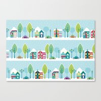 ski Canvas Prints featuring Ski house by Polkip