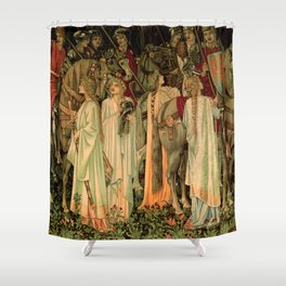 "Edward Burne-Jones ""Holy Grail Tapestry -The Arming and Departure of the Kniights"" Shower Curtain"