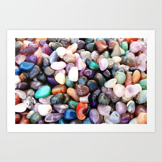 Polished Coloured Gemstones Art Print