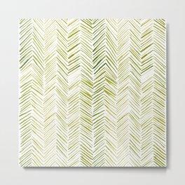 Watercolor Herringbone Pattern - Chartreuse Metal Print