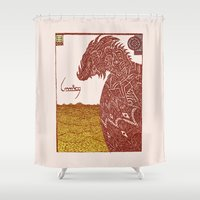 smaug Shower Curtains featuring Smaug and His Treasure by Hinterlund