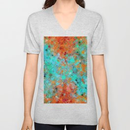 psychedelic geometric circle pattern and square pattern abstract in orange and blue Unisex V-Neck