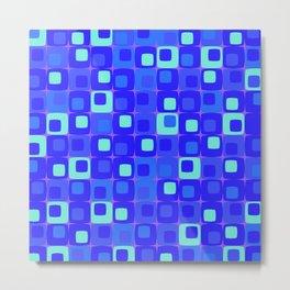 Retro kitchen pattern blue Metal Print