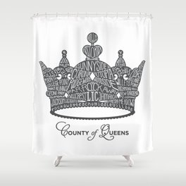 County of Queens | NYC Borough Crown (GREY) Shower Curtain