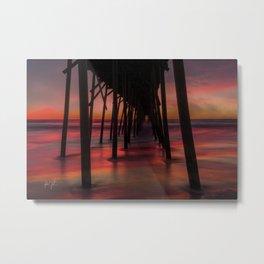 Water on Fire Kure Beach Sunrise Metal Print