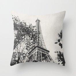 Eiffel Tower Paris France Black and White Canvas Throw Pillow