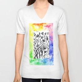 rainbow floral watercolor Unisex V-Neck