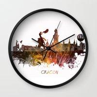 poland Wall Clocks featuring Cracow Poland by jbjart