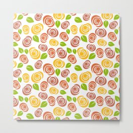 Pretty Orange, Yellow and Green Floral Pattern Metal Print
