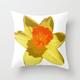Spring Daffodil Vector Isolated Throw Pillow