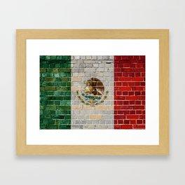 Mexico flag on a brick wall Framed Art Print