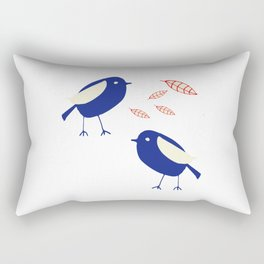 blue bird with fall leaves Rectangular Pillow