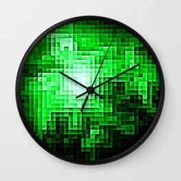 Nebula Pixels Emerald Green Wall Clock