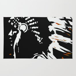 "Native American Indian ""Fearless in Flames"" Rug"