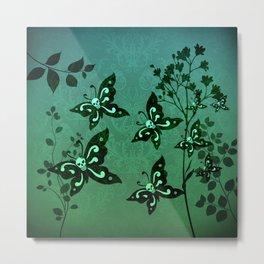 'Skullerflies in the Garden' Metal Print