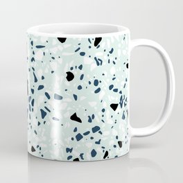'Speckle Party' Navy Mint Black White Dots Speckle Terrazzo Pattern Coffee Mug