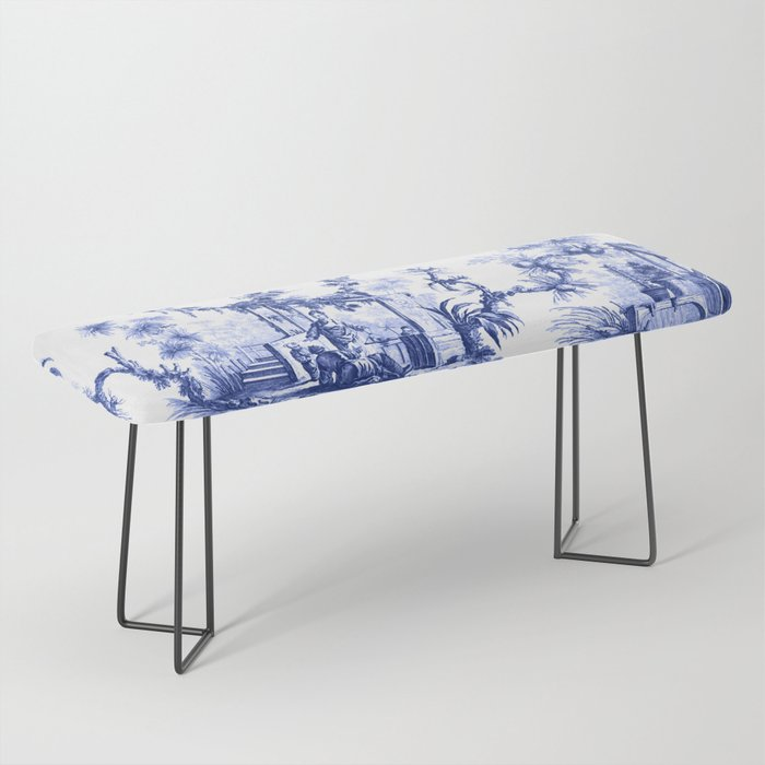 Blue Chinoiserie Toile Bench