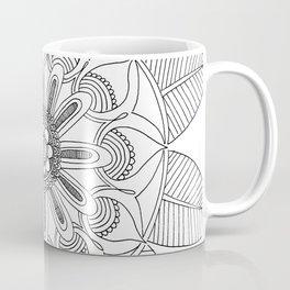Petals and Leaves - black & white Coffee Mug
