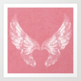 Pink/White Ethereal Angel Wing Digital Mural Art Art Print
