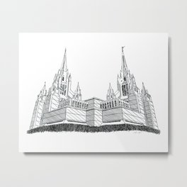 San Diego LDS Temple Ink Drawing Metal Print