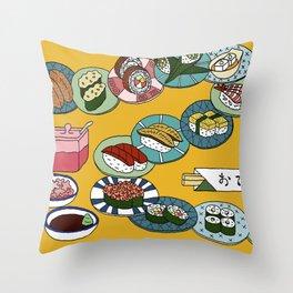 Kuru Kuru Sushi Train Throw Pillow