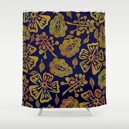 Golden Paisley Florals Shower Curtain